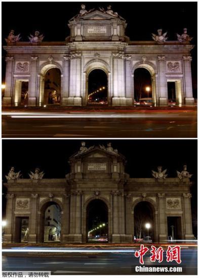 西班牙首都马德里地标建筑阿尔卡拉门。