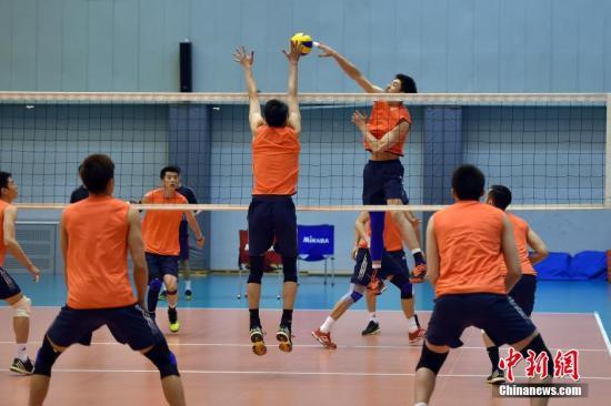 资料图:中国国家男子排球队。 记者 金硕 摄
