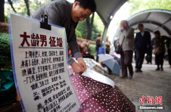 资料图:上海颇有名气的人民公园相亲角人流攒动。 中新社记者 汤彦俊 摄