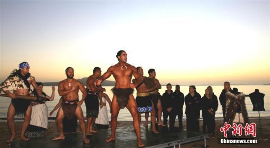 资料图片新西兰在奥克兰彻特曼海滩毛利武士进行表演。 <a target='_blank' href='http://www.chinanews.com/'>中新社</a>记者 赖海隆 摄