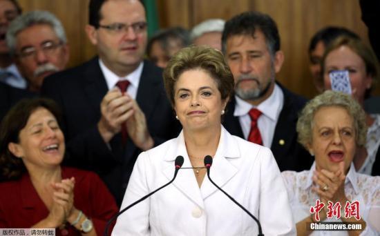 当地时间2016年5月12日,巴西巴西利亚,总统罗塞夫在参议院通过弹劾报告后发表讲话。
