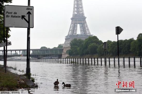 """资料图:2016年6月1日,法国巴黎,塞纳河因暴雨水位上升,导致道路被淹,埃菲尔铁塔""""被困""""积水中。"""