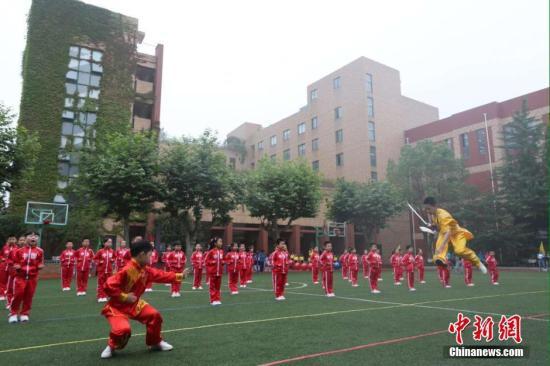 资料图:小学生表演武术。 钟学满 摄