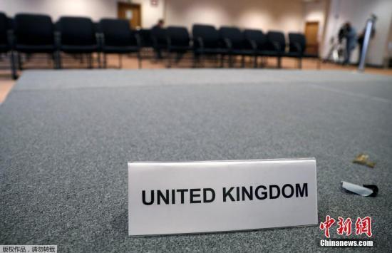 当地时间2016年6月29日,比利时布鲁塞尔,空荡荡的英国媒体会议室。