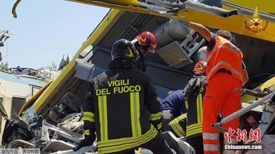 当地时间7月12日,意大利南部两列火车发生相撞事故