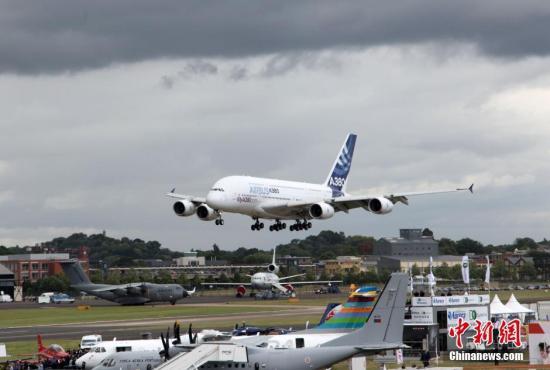 資料圖:空中客車公司的民航飛機A380。 <a target='_blank' href='http://www.kathleenstjohn.com/'>中新社</a>記者 周兆軍 攝