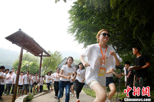 资料图:50名台湾学生到湖南省参加拓展训练。<a target='_blank' href='http://www.niuren98.com/'>中新社</a>发 唐哲威 摄