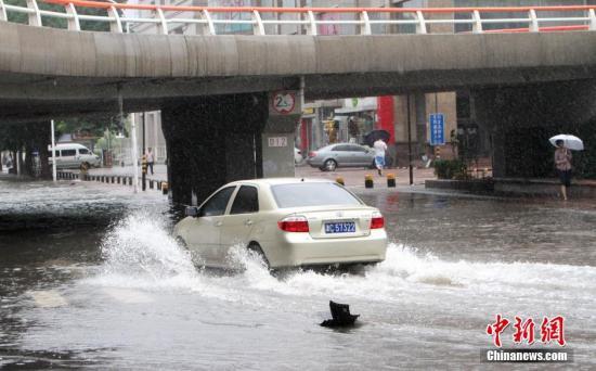 资料图:天津暴雨,车辆行驶在积水桥洞。 张道正 摄