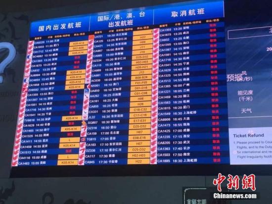 7月20日暴雨导致首都机场航班大面积取消延误,航班流控严重。