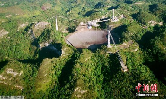 阿雷西博射电望远镜现在是世界上第二大的单面口径射电望远镜,始建于上世纪60年代初期,直径达305米,后扩建为350米。(拍摄于2003年3月26日)