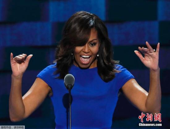 当地时间7月25日,美国费城,民主党全国代表大会首日,美国第一夫人米歇尔-奥巴马现身助阵,发表演讲。