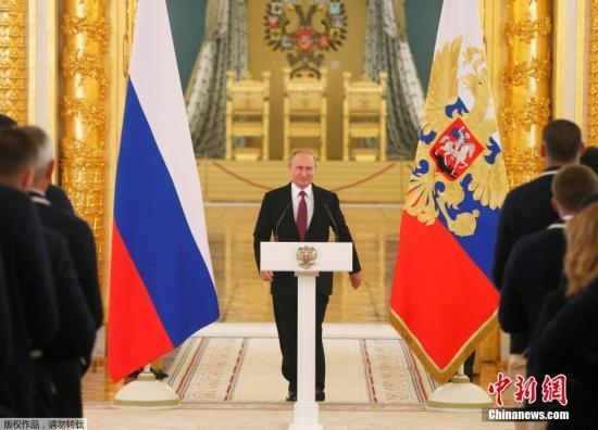 当地时间2016年7月27日,俄罗斯莫斯科,俄罗斯奥运代表队参加在克里姆林宫举行的欢送会,俄总统普京出席并发表讲话。