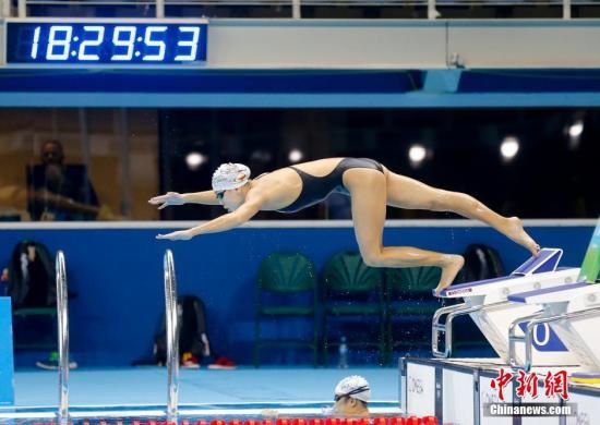 当地时间8月1日,陈欣怡在巴西里约游泳赛场进行赛前训练。<a target='_blank' href='http://www.chinanews.com/' >中新网</a>记者 杜洋 摄