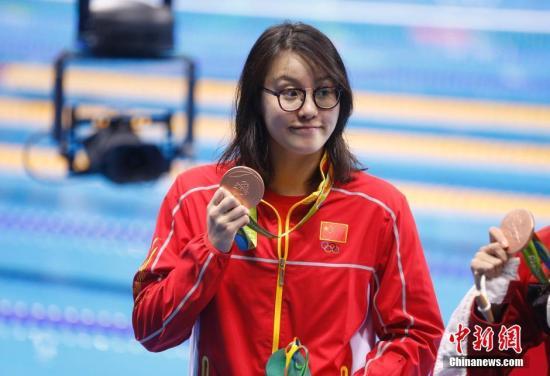 当地时间8月8日,在2016里约奥运女子100米仰泳决赛上,中国选手傅园慧以58秒76夺得铜牌。记者 杜洋 摄