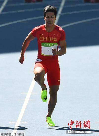 中国选手苏炳添在比赛中。