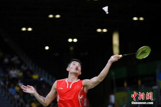 林丹在比赛中。 <a target='_blank' href='http://www.chinanews.com/' >中新网</a>记者 盛佳鹏 摄
