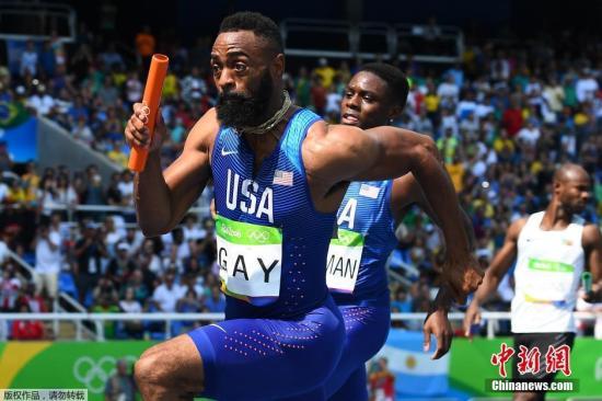 当地时间8月18日,里约田径赛场进行男子4X100米接力首轮比赛,美国选手盖伊在奔跑过程中。