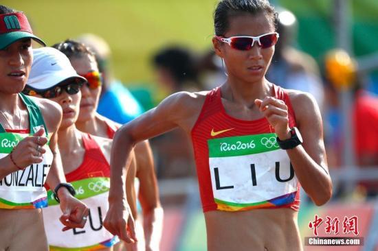 当地时间8月19日,里约奥运女子20公里竞走决赛,中国选手刘虹以1小时28分35秒摘取金牌。<a target='_blank' href='http://www.chinanews.com/' >中新网</a>记者 富田 摄