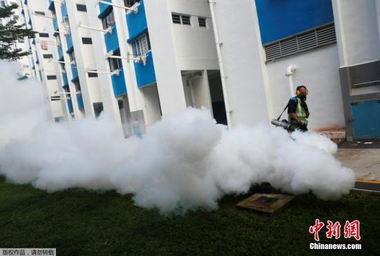 当地时间8月31日,新加坡卫生防疫人员在公共住宅区下水道喷洒驱虫药。
