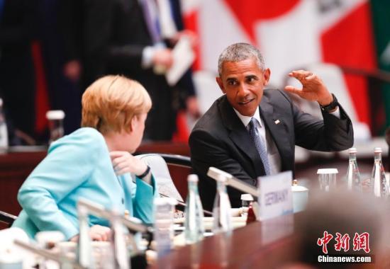 9月4日,美国总统奥巴马与德国总理默克尔出席二十国集团领导人杭州峰会。 <a target='_blank' href='http://www.chinanews.com/'>中新社</a>记者 杜洋 摄
