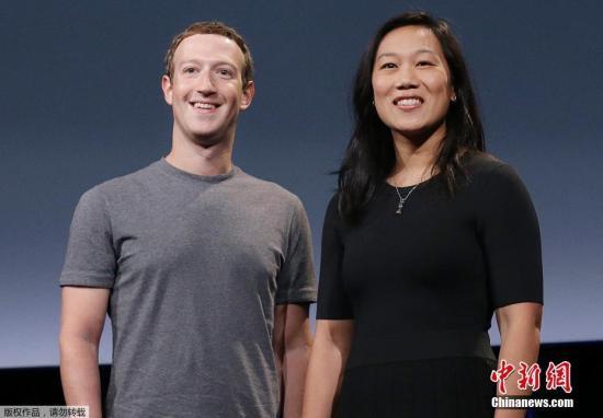 Facebook CEO马克-扎克伯格(Mark Zuckerberg)及其妻子普里西拉・陈(Priscilla Chan)。