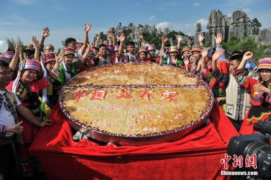 """资料图:""""巨无霸""""鲜花饼。<a target='_blank' href='http://www.chinanews.com/'>中新社</a>记者 任东 摄"""