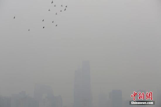 10月2日,北京市空气重污染应急指挥部办公室8时发布2016年下半年首个空气重污染黄色预警,预计未来两日北京将维持重度污染状态。当日上午,北京的实况空气质量状态数据显示,北京大部地区的PM2.5实时浓度在180微克/立方米左右,部分站点的PM2.5实时浓度已超过200微克/立方米。图为北京CBD地区笼罩在雾霾之中。<a target='_blank' href='http://www.chinanews.com/'>中新社</a>记者 李慧思 摄
