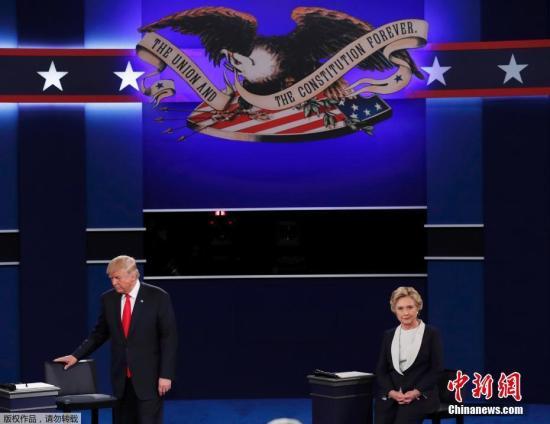 当地时间10月9日晚,美国共和党总统候选人特朗普和民主党总统候选人希拉里在密苏里州圣路易斯市展开第二场电视辩论。