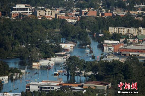 """资料图,2016年10月,飓风""""马修""""重创美国东南海岸。"""