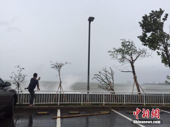 """资料图:去年强台风""""海马""""登陆前,一市民在惠州大亚湾石化区海边抓拍""""海浪""""。宋秀杰 摄"""