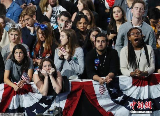 当地时间11月8日,美国大选战况激烈,再过不久大选结果即将出炉,美国民众焦急地等待答案。图为在纽约的希拉里支持者。