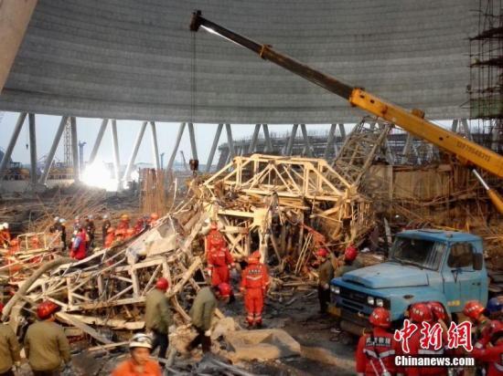 江西宜春丰城电厂在建工地发生坍塌 刘占昆 摄
