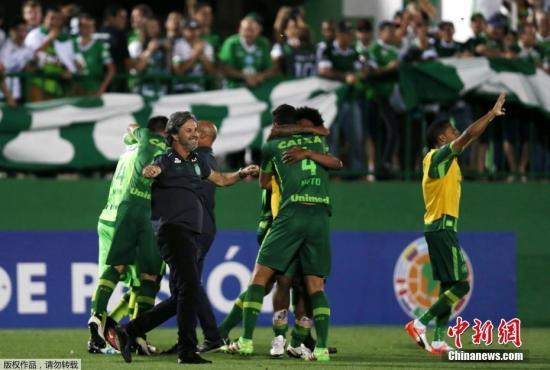 坠毁客机上的球员来自巴西沙佩科恩斯足球俱乐部(Chapecoense),原定于当地时间30日在哥伦比亚麦德林与竞技队比赛。 (资料图)