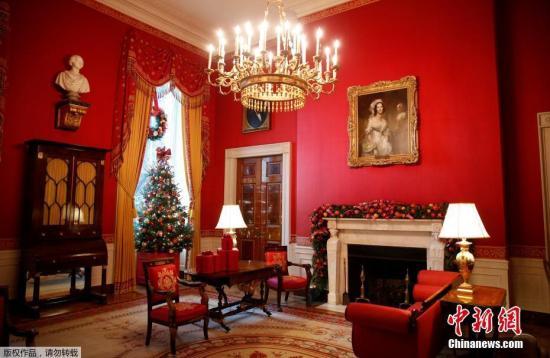 资料图:美国白宫圣诞节装饰。