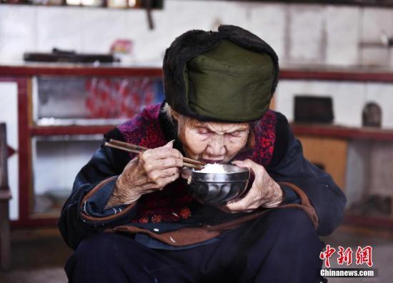 资料图:桂林114岁长寿老人王玉琼。唐梦宪 摄
