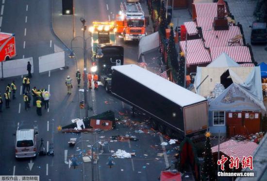 空中拍摄的柏林卡车恐袭案事发现场。