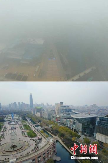 """上图为12月20日,雾霾笼罩整个济南市,市中心的泉城广场在航拍中直接""""消失"""",深中""""霾""""伏。下图为一周前,天气晴好、阳光明媚的泉城广场景象。谢树亮 摄"""