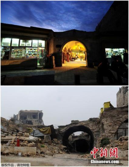 叙利亚阿勒颇旧城al-Zarab露天市场。上图拍摄于2008年11月24日,下图拍摄于2016年12月13日。
