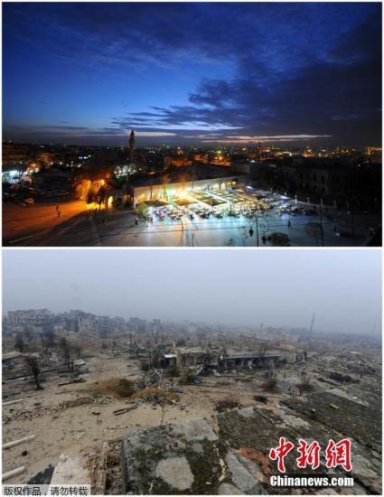 叙利亚阿勒颇旧城。上图拍摄于2008年11月24日,下图拍摄于2016年12月13日。