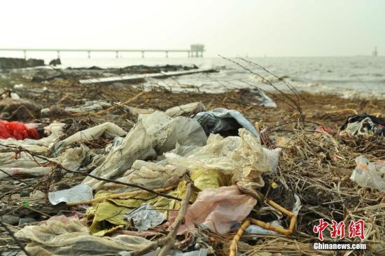 近日,上海崇明区东风西沙水库附近江面出现了大量来自外省市的生活垃圾。12月23日早间,记者在上海崇明东风西沙水库岸边发现,这些垃圾正在被清理装袋,并伴有刺鼻气味。图为不远处的上海崇明东风西沙水质监测站附近堆积了来自外省市生活垃圾。张亨伟 摄