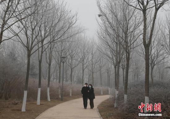 1月1日,北京市民在公园里散步。当日,北京在雾霾中迎来新年。 /p中新社记者 刘关关 摄