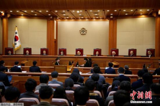 资料图 当地时间2017年1月3日,韩国首尔,宪法法院开审朴槿惠弹劾案。
