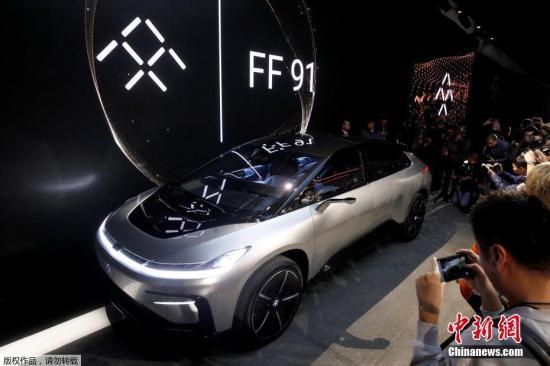 资料图:北京时间1月4日上午,乐视旗下法拉第(Faraday Future)终于在CES 2017大展上发布了首款量产电动车――FF91。