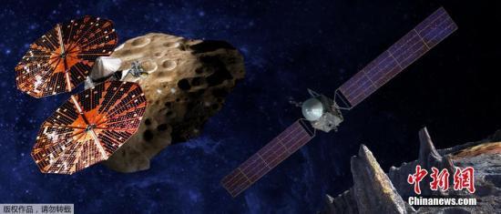 美国航空航天局(NASA)于当地时间1月4日公布了一幅概念图,阐释其派出无人飞船探索小行星以研究早期太阳系的任务。两艘无人飞船被命名为露西(Lucy)和普赛克(Psyche),NASA计划于2021和2023年分别进行发射。露西任务包括发送一个机器人飞船研究木星的特洛伊小行星带。这些小行星被认为是太阳系历史早期的遗迹。普赛克任务的目的是探索一个巨型的,独特的金属小行星,名字为普赛克16,它与太阳的距离,是地球距离太阳的三倍左右。