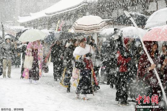 近日,日本多地气温骤降至今年入冬以来最低温,尤其日本海沿岸地区遭遇连番大雪,造成至少3人死亡。图为日本京都,民众冒雪走在三十三间堂寺庙。