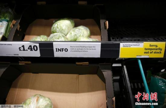 资料图:货架上的蔬菜。