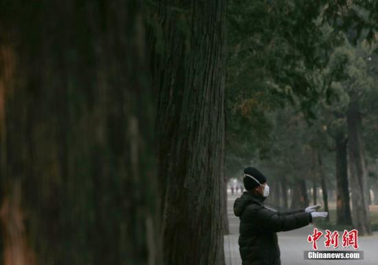 2月4日,一位老人在北京天坛公园健身。记者 刘关关 摄