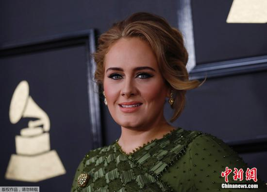 资料图:美国女歌手阿黛尔(Adele)。