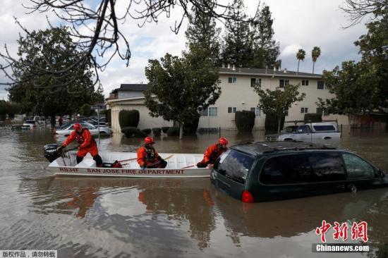 大雨引发洪水警报 美加州圣何塞1.4万居民撤离
