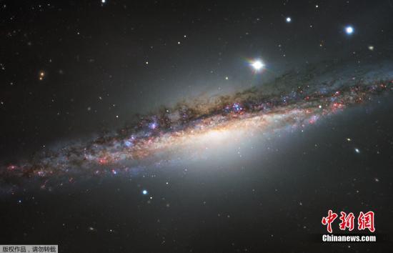 近日,欧洲南方天文台公布了由超大型光学望远镜拍摄到的鲸鱼座NGC 1055星系图像。